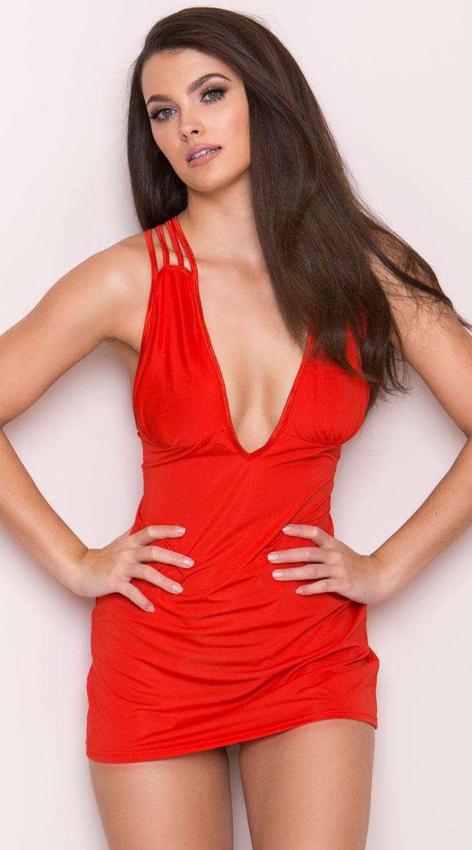 Red Criss Cross Mini Dress by Elegant Moments