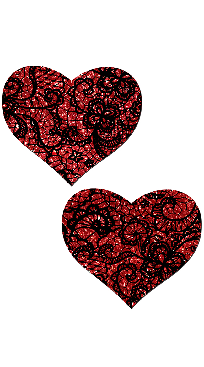 Red Glitter Heart Pasties by Pastease