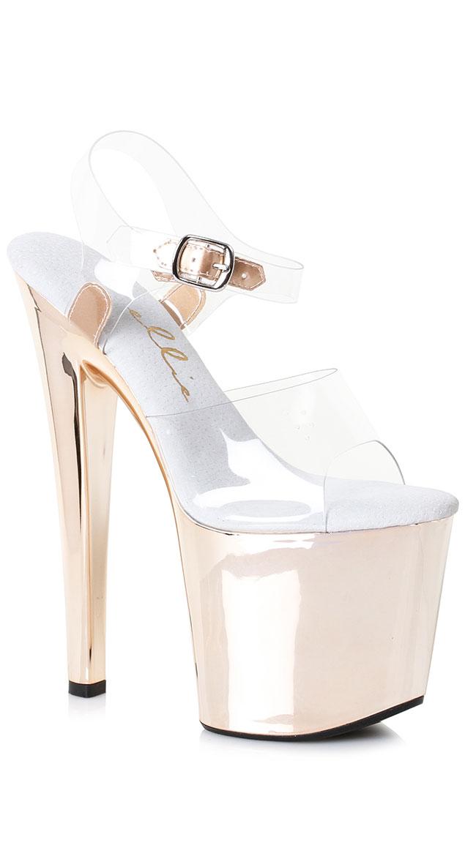 Reflective Platform Heel Sandal by Ellie Shoes