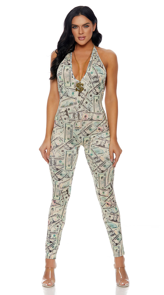 Rolling In Dough Money Print Jumpsuit by Forplay