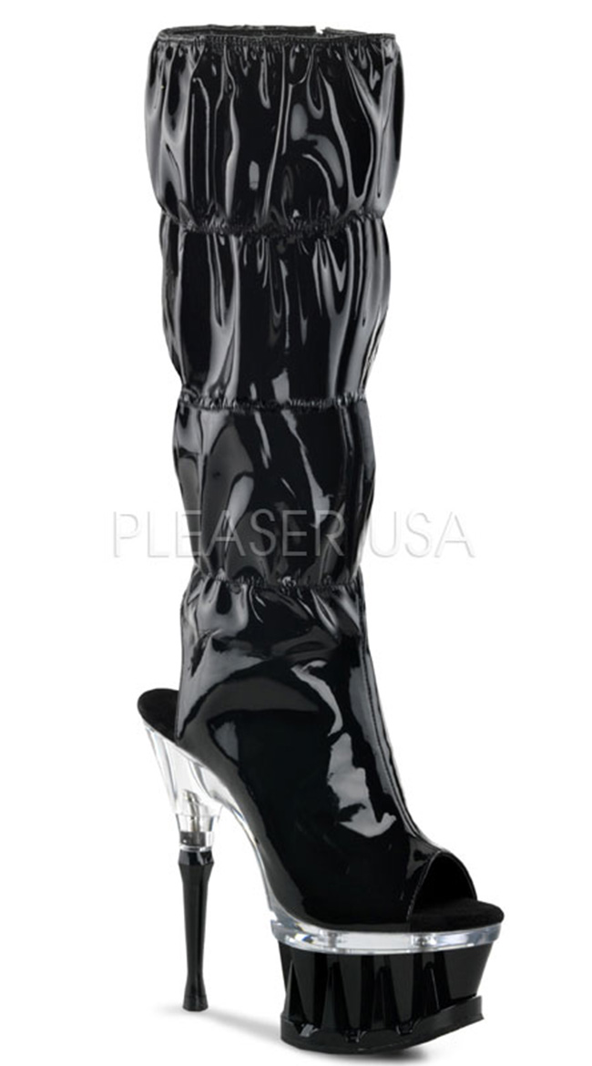 Ruched Knee High Platform Boots by Pleaser