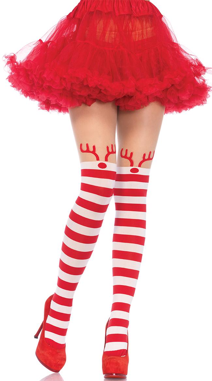 Rudolph Striped Pantyhose by Leg Avenue