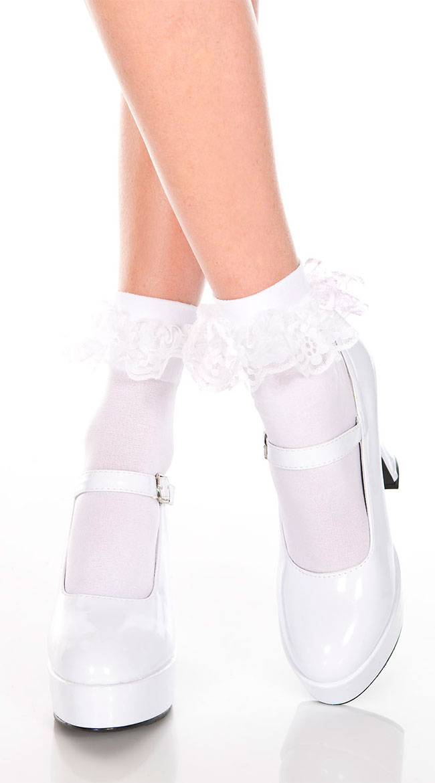 Ruffle Trim Ankle High Socks by Music Legs