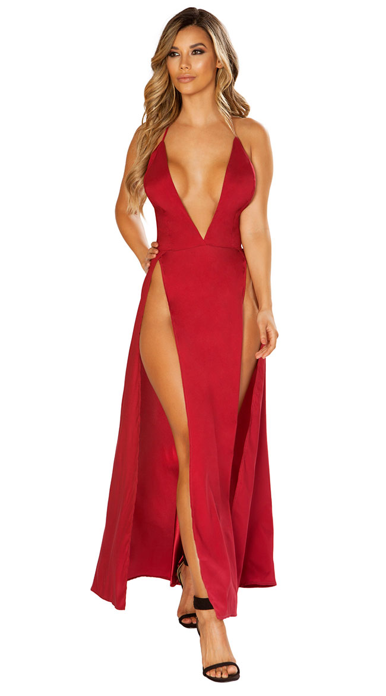 Satin Elegance Burgundy Dress by Roma