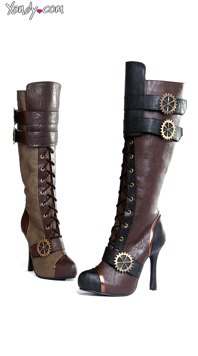 Sexy Steampunk Lace Up Stiletto Boot by Ellie Shoes