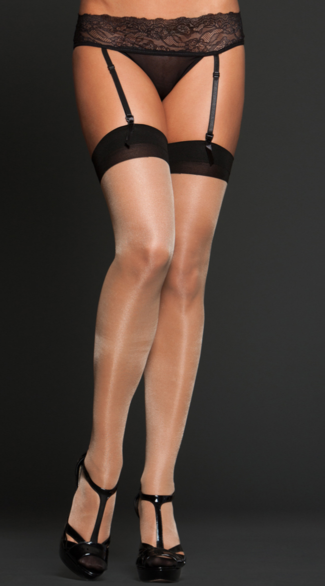 Sheer Cuban Heel Thigh Highs by iCollection