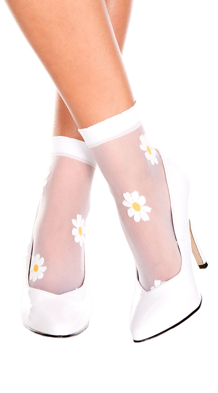Sheer Flower Ankle Socks by Music Legs