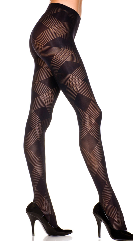 Sheer Pantyhose Large Diamond Pattern by Music Legs