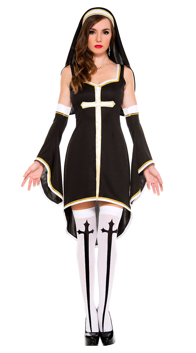 Sinfully Hot Nun Costume by Music Legs