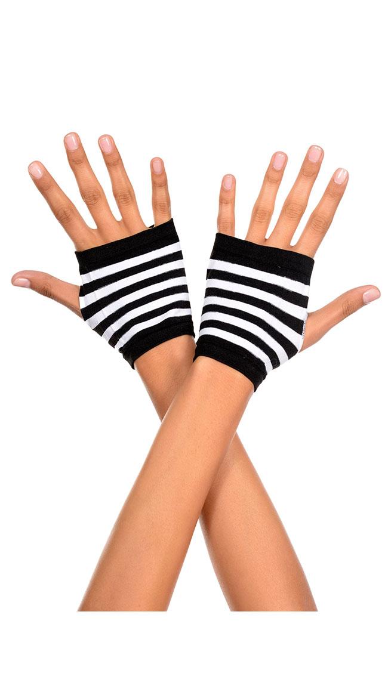 Striped Fingerless Gloves by Music Legs