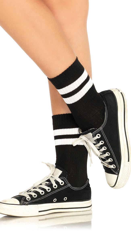 Trendy Athletic Striped Anklet Socks by Leg Avenue