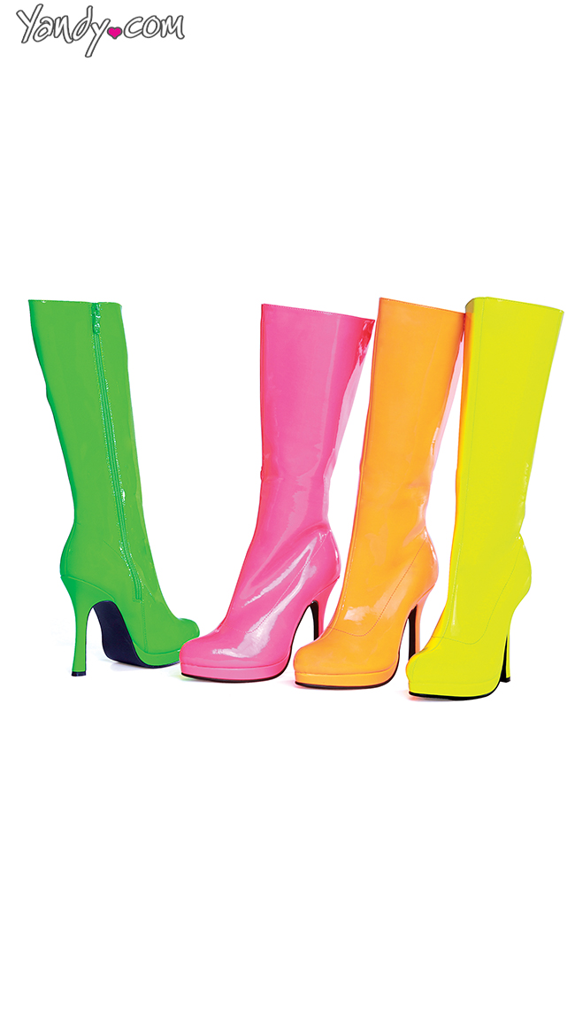 Wet Look Neon Candy Boots by Ellie Shoes
