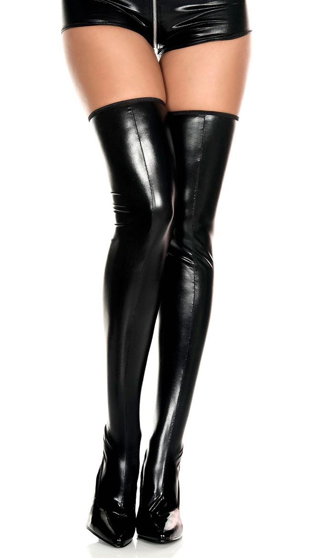 Wet Look Zipper Thigh Highs by Music Legs