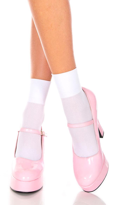 White Opaque Anklet Socks by Music Legs / White Anklet Socks