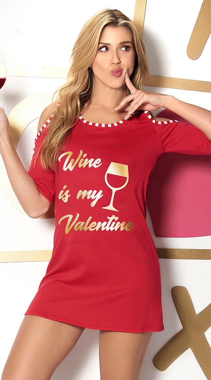 Wine Is My Valetine Sleep Shirt by Mapale