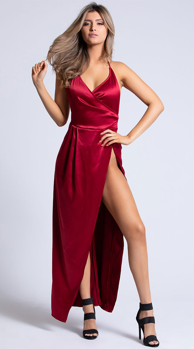 Yandy Bella Slit To Perfection Satin Gown by Yandy Roma