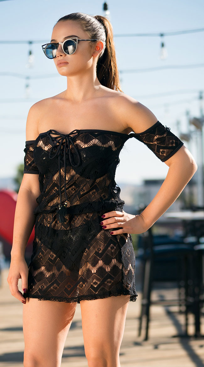 Yandy Graphic Crochet Cover-Up by Espiral Yandy