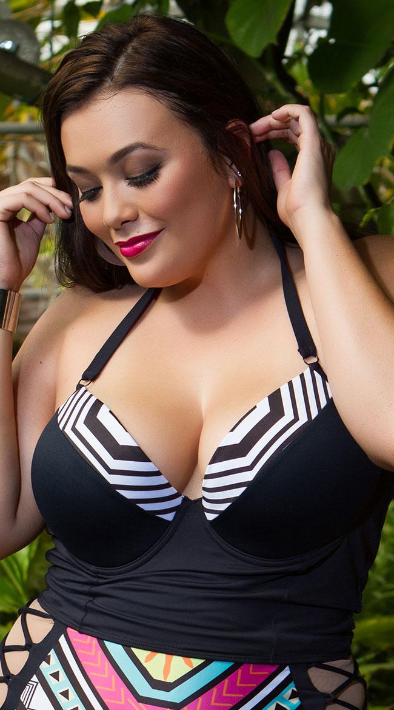Yandy Plus Size Atomic Grid Longline Bikini Top by Espiral Yandy